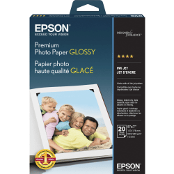 """Epson® Premium Glossy Photo Paper, 5"""" x 7"""", 68 Lb, Pack Of 20 Sheets"""