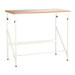 Safco® Elevate™ Laminate/Steel Standing-Height Desk, Beech/White