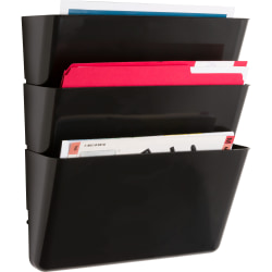 """Sparco Stak-A-File Vertical Filing Systems - 14.5"""" Height x 13.1"""" Width x 4.3"""" Depth - Wall Mountable - Black - 3 / Pack"""