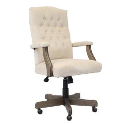 Boss Button-Tufted High-Back Chair, Champagne Velvet