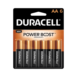 Duracell Coppertop Alkaline AA Batteries, Pack Of 6 Batteries