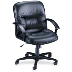 Lorell® Tufted Ergonomic Bonded Leather Mid-Back Chair, Black