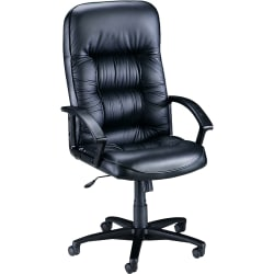 Lorell® Tufted Bonded Leather High-Back Executive Chair, Black