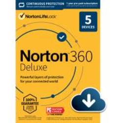 Norton™ 360 Deluxe, For 5 Devices, 1 Year Subscription, Windows®, Download
