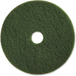 "Genuine Joe 13"" Scrubbing Floor Pad - 13"" Diameter - 5/Carton x 13"" Diameter x 1"" Thickness - Fiber - Green"