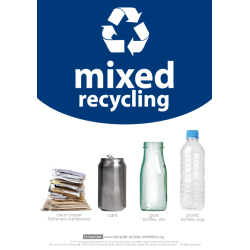 """Recycle Across America Mixed Standardized Recycling Labels, MXD-1007, 10"""" x 7"""", Navy Blue"""