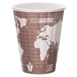 Eco-Products World Art Insulated Hot Cups, 8 Oz, Maroon, Pack Of 800