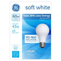 GE Soft White Halogen Light Bulbs, 43W, Pack Of 4 Light Bulbs
