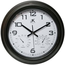 "Infinity Instruments Round Wall Clock With Hygrometer/Thermometer, 18"", Black/White"