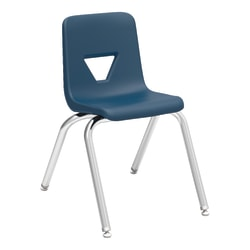 """Lorell® Classroom Student Stack Chairs, 16""""H Seat, Navy/Silver, Set Of 4"""