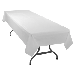 "Table Mate Plastic Table Covers, 54"" x 108"", White, Pack Of 6"