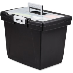 "Storex Nesting Portable File Box - External Dimensions: 15"" Width x 10.7"" Depth x 10.7""Height - Media Size Supported: Letter - Latch Lock Closure - Black, Gray - For File Folder, Letter, Document, File, Box File - Recycled - 1 Each"