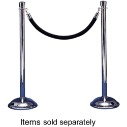 """Tatco Weighted Bell-Shaped Stanchion Bases, 12"""" Diameter, Chrome, Box Of 2"""