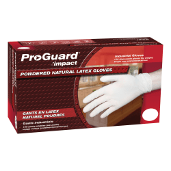 ProGuard Disposable Latex Powdered Gloves, Small, White, 100 Per Box, Case Of 10 Boxes