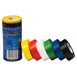 """3M Vinyl Tape 764 Color-coding Pack - 21.87 yd Length x 0.94"""" Width - 5 mil Thickness - Rubber - 4 mil - Polyvinyl Chloride (PVC) Backing - 6 / Pack - Multicolor"""