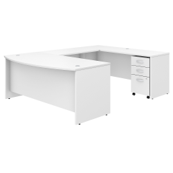 "Bush Business Furniture Studio C U Shaped Desk with Mobile File Cabinet, 72""W x 36""D, White, Standard Delivery"