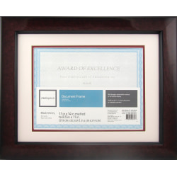 "Realspace™ Plastic Photo/Document Frame, 11"" x 14"", Matted For 8-1/2"" x 11"", Black Cherry"