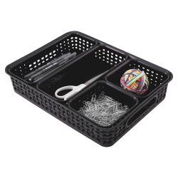 Advantus 5-pack Plastic Weave Bins - Desktop - Black - Plastic - 5 / Pack