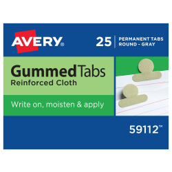 Avery® Gummed Index Tabs, Round, Gray Cloth, Box Of 25