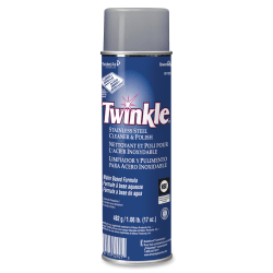 Twinkle Stainless Steel Cleaner/Polish - Ready-To-Use Aerosol - 17 fl oz (0.5 quart) - Characteristic Scent - 12 / Carton - White