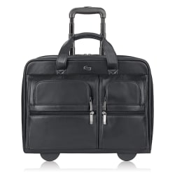 """Solo® Franklin Leather Rolling Case For 15.6"""" Laptops, Black"""