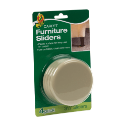 "Duck® Plastic Carpet Furniture Sliders, 3 1/2"", Brown, Set Of 4"