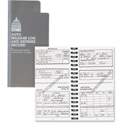 "Dome® Auto Mileage Log And Expense Record, 3 1/2"" x 6 1/2"", Gray"
