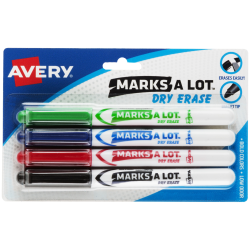 Avery® Marks-A-Lot® Dry Erase Markers, Bullet Point, White Barrel, Assorted Ink Colors, Pack Of 4