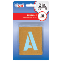 "Creative Start® Stencil Kit, Reusable Paper, Letters, Numbers and Symbols, Gothic, 2"", 45 Characters"