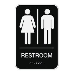 """Cosco® ADA Men's/Women's/Unisex Restroom Sign, 6"""" x 9"""", Black"""