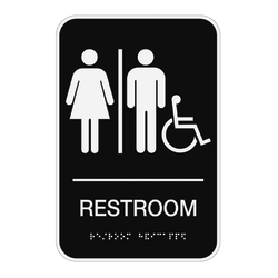 "Cosco® ADA Room Accessible Restroom Sign, 6"" x 9"", Black"