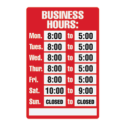 """Cosco® """"Business Hours"""" Sign Kit, 8"""" x 12"""""""