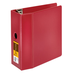 "[IN]PLACE® Heavy-Duty Reference 3-Ring Binder, 5"" D-Rings, 100% Recycled, Dark Red"