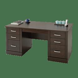 "Sauder® Office Port 66""W Executive Desk, Dark Alder"