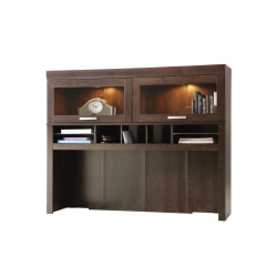 Sauder® Office Port Computer Credenza Hutch, Dark Alder