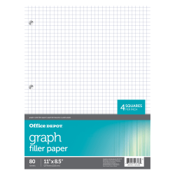 """Office Depot® Brand Quadrille-Ruled Notebook Filler Paper, 8 1/2"""" x 10 1/2"""", White, Pack Of 80 Sheets"""