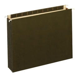 "Office Depot® Brand Expanding Hanging File Pocket With Full-Height Gussets, 3 1/2"" Expansion, Legal Size, Standard Green"