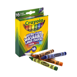 Crayola® Washable Crayons, Assorted Colors, Pack Of 16