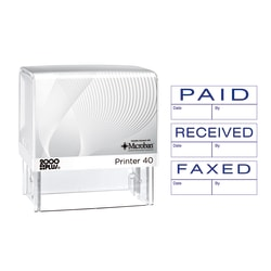 "Cosco® 2000PLUS 3-In-1 Jumbo Self-Inking Message Stamp, ""Paid"", ""Faxed"", ""Received"", 2 1/4"" x 7/8"" Impression, Blue"