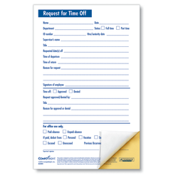 """ComplyRight Request For Time Off Forms, 2-Part, 5 1/2"""" x 8 1/2"""", White, Pack Of 50"""