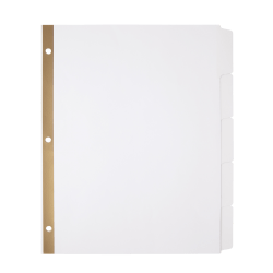 Office Depot® Brand Write-On Dividers, 5-Tab, 3 sets, White
