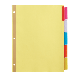 Office Depot® Brand Insertable Tab Dividers, 5-Tab, Buff Paper, Multicolor Tabs