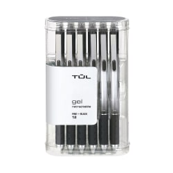 TUL® Retractable Gel Pens, Fine Point, 0.5 mm, Silver Barrel, Black Ink, Pack Of 12 Pens