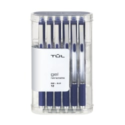 TUL® Retractable Gel Pens, Fine Point, 0.5 mm, Silver Barrel, Blue Ink, Pack Of 12 Pens