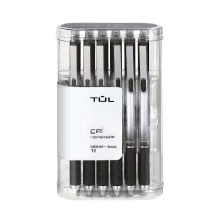 TUL® Retractable Gel Pens, Medium Point, 0.7 mm, Silver Barrel, Black Ink, Pack Of 12 Pens