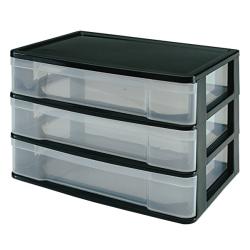 "Advantus Plastic 3-Drawer Storage Case, 10 3/8"" x 13 7/16"" x 9 11/16"", Clear/Black"