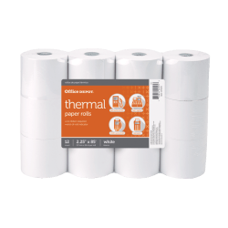 "Office Depot® Thermal Paper Rolls, 2.25"" x 85', White, Pack of 12"