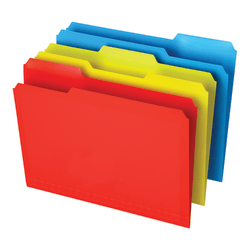 Office Depot® Brand Poly File Folders, Letter Size, 1/3 Cut, Assorted Colors, Pack Of 12