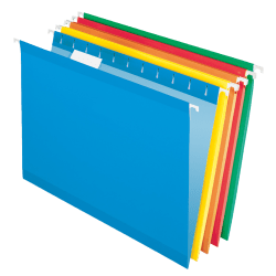 "Office Depot® Brand Hanging Folders, 15 3/4"" x 9 3/8"", Assorted Primary Colors, Box Of 25"