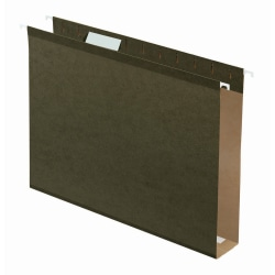 "Office Depot® Brand Tab-View Extra-Capacity Box-Bottom Hanging Folders, Letter Size (8-1/2"" x 11""), 2"" Expansion, 70% Recycled, Green, Box Of 25"